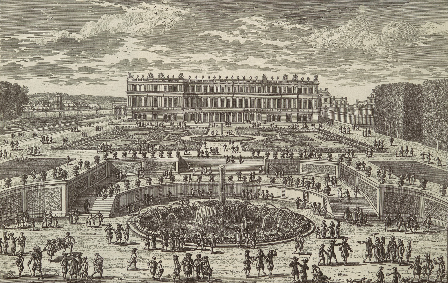 An etching of the Palace of Versailles